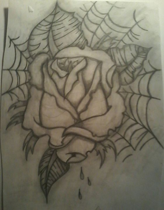 Rose and spider web sketch - Sabrina's paintings