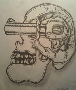 Skull with gun