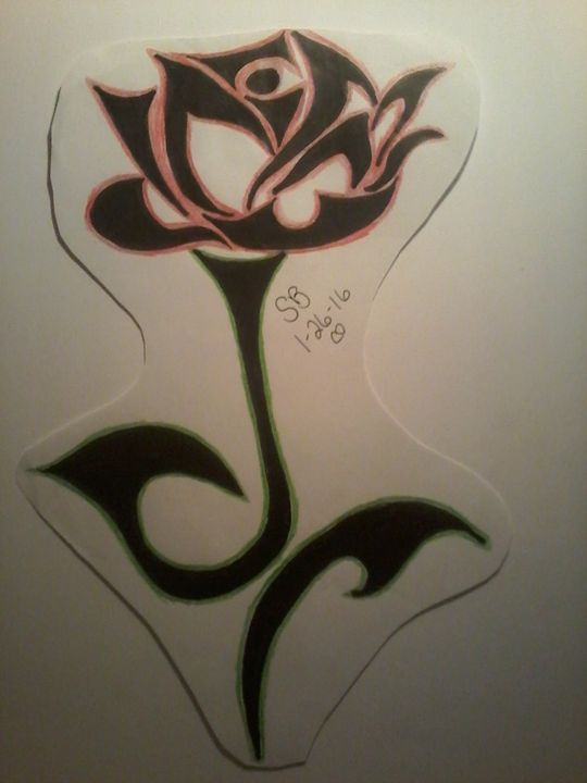tribal rose with a little color - Sabrina's paintings