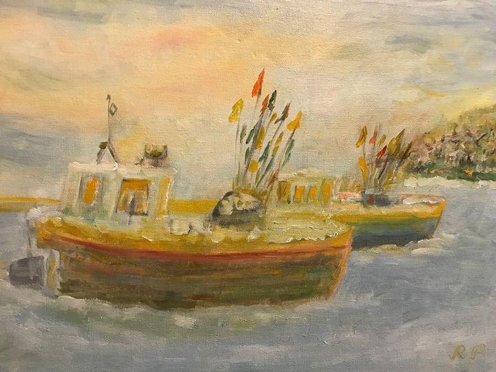 """Fishing Village in Winter"" - Panuszka's paintings"