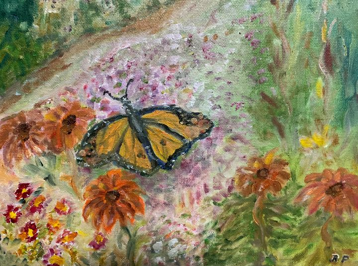 Butterfly over Garden. - Panuszka's paintings