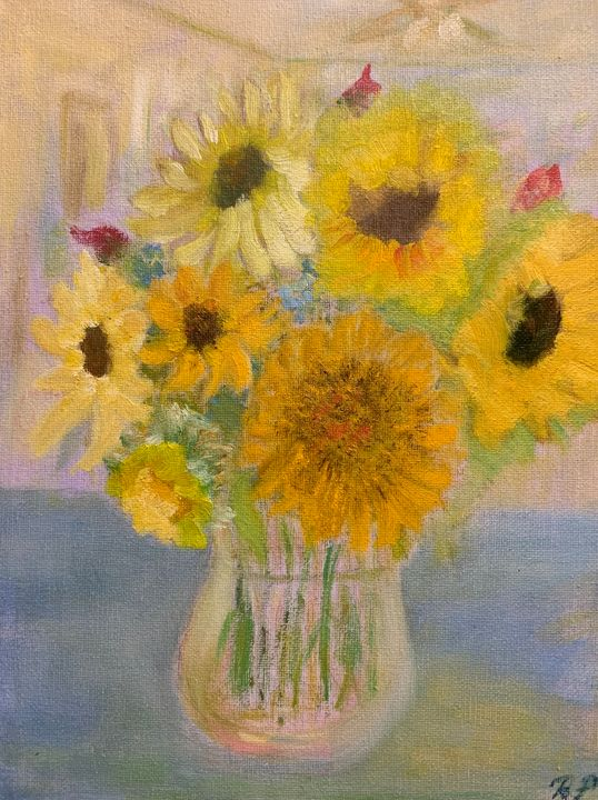 Amish bunch of sunflowers - Panuszka's paintings