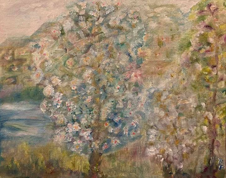 Blooming trees near lake - Panuszka's paintings