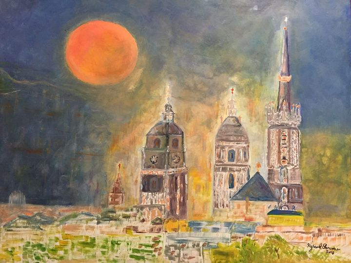 Red Moon over Towers - Panuszka's paintings