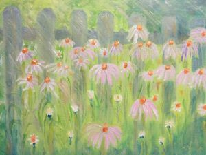 """""""Cone-flowers near fence"""" - Panuszka's paintings"""
