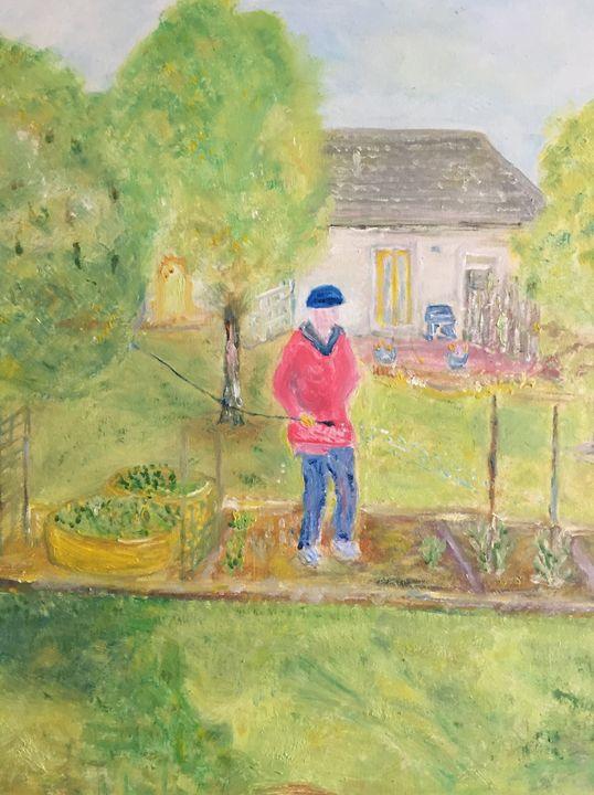 """Woman Watering Garden"" - Panuszka's paintings"