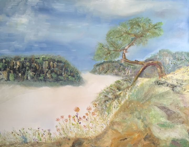 """Pine tree over foggy valley"" - Panuszka's paintings"