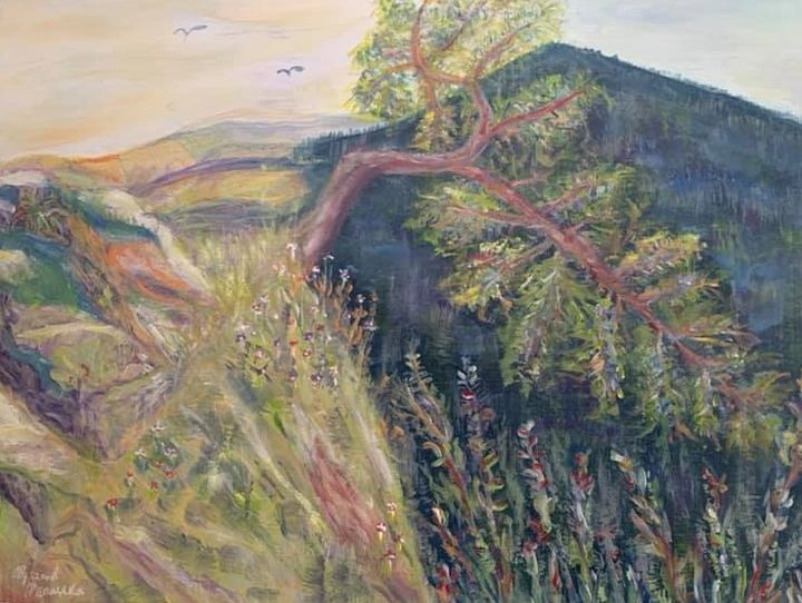 """""""Lonely Pine Tree on the Rock"""" - Panuszka's paintings"""