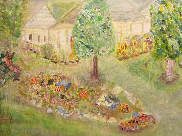 A Flowerbed Near Driveway - Panuszka's paintings