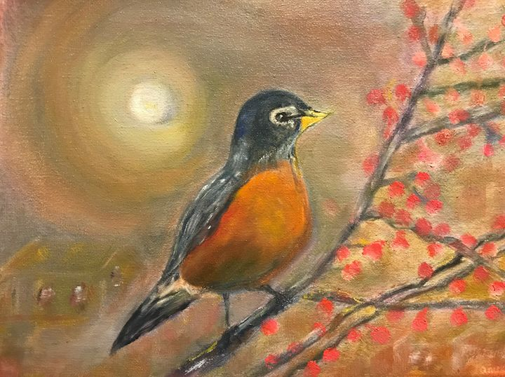 """""""Robin in the Moonlight"""" - Panuszka's paintings"""