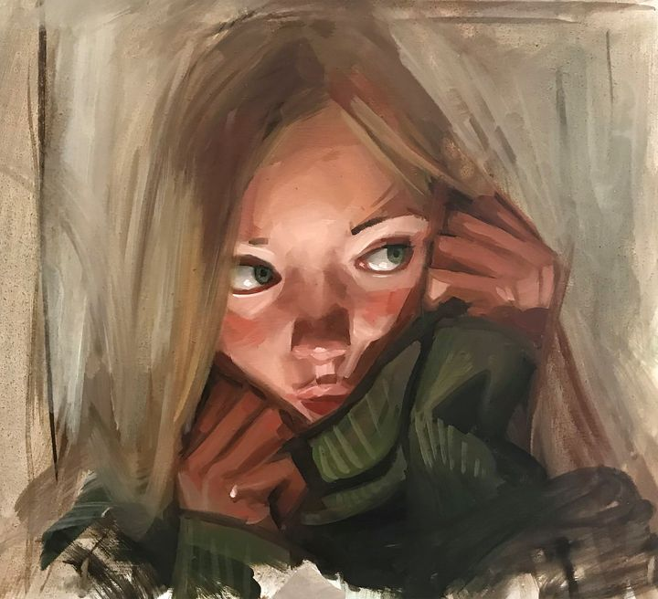 green sweater - Paintings