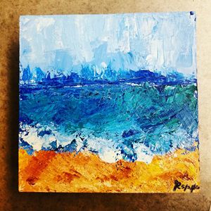 Abstract Seashore on Wood