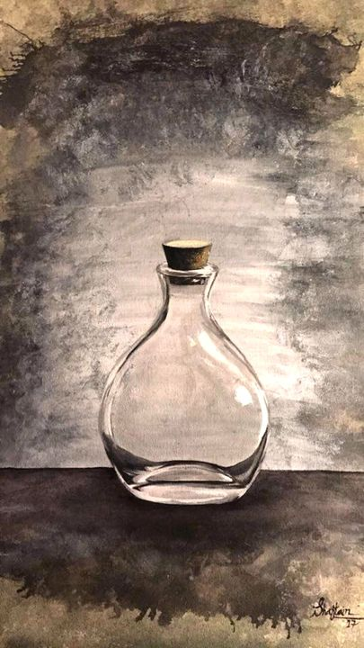 Glass bottle oil painting - Shaftain's Art Collection