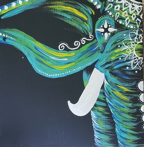 Green and blue elephant