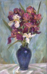 Irises in turquoise blue