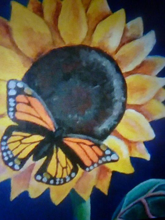 butterfly on sunflower - josie ogle