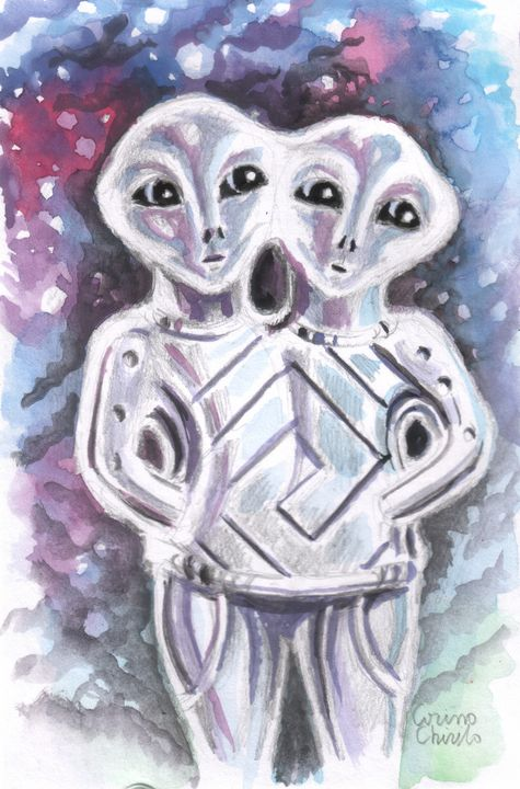Alien  gods of an ancient culture - The drawings and paintings of Corina Chirila
