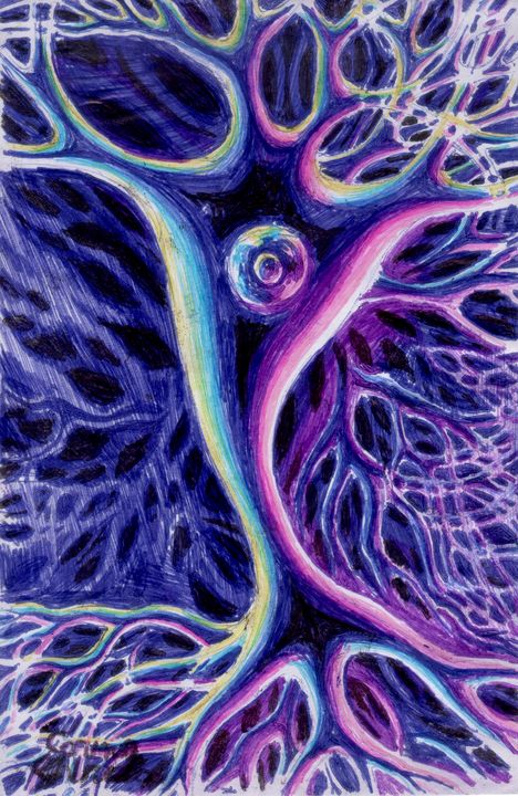 Pyramidal neuron - The drawings and paintings of Corina Chirila