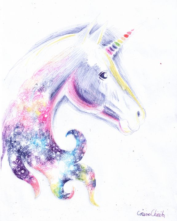 Unicorn head - The drawings and paintings of Corina Chirila