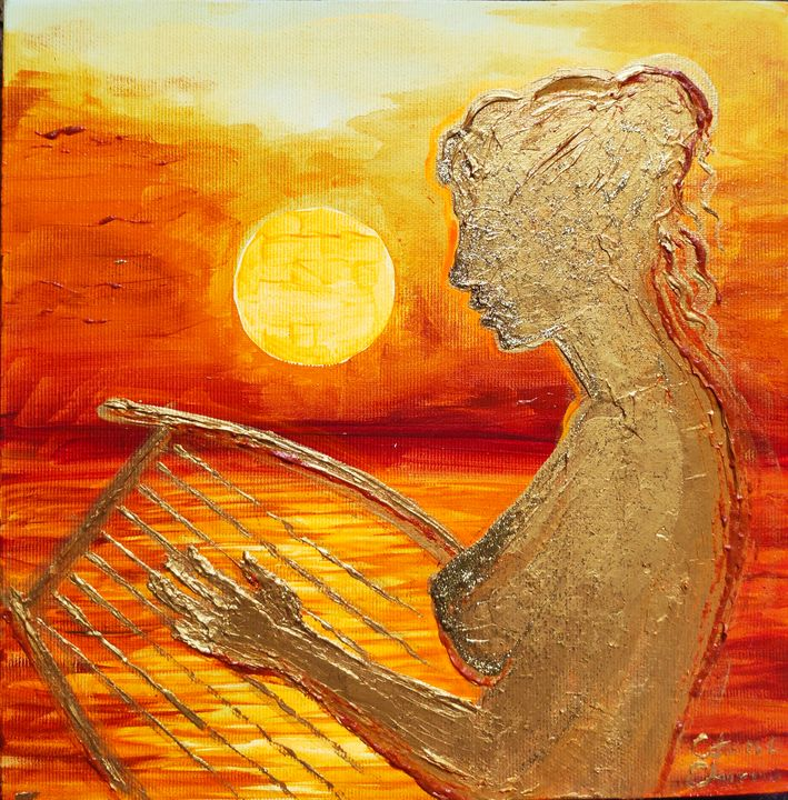 Sappho's talented girl playing lyre - The drawings and paintings of Corina Chirila