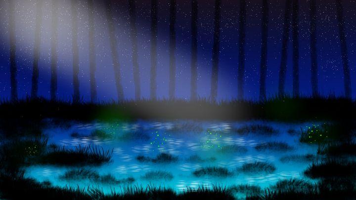 Blue Fantasy Pond - Exiled Emotion Art