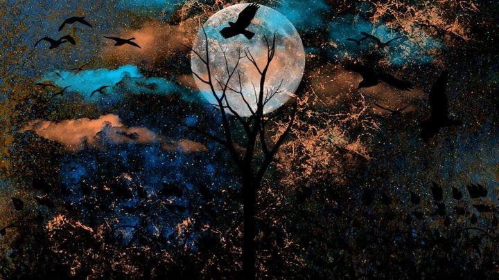 Hazey Blue&Orange Moon - Exiled Emotion Art