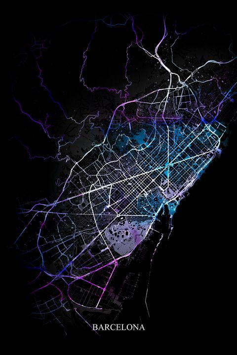 Barcelona Abstract Citymap - Art By Dominic