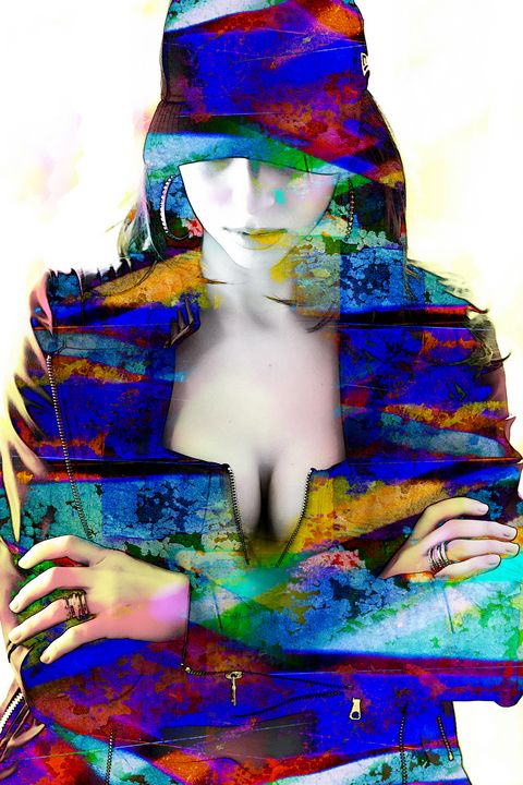 Woman with cleavage abstract multico - Art By Dominic