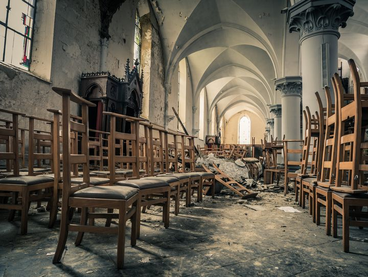 Chairs in Abandoned Church, Belgium - Art By Dominic