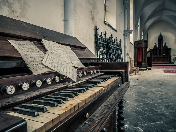Piano in Abandoned Church, Belgium - Art By Dominic