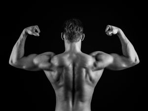 Bodybuilder in Black and White
