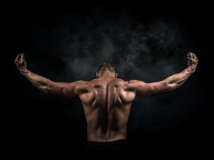 Bodybuilder with Smoke