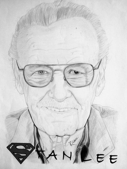 Stan Lee Portrait - Celebrity Portraits by Risee Prabhakar