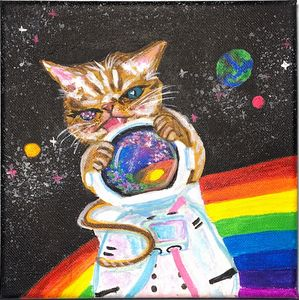 cat painting with rainbow galaxy