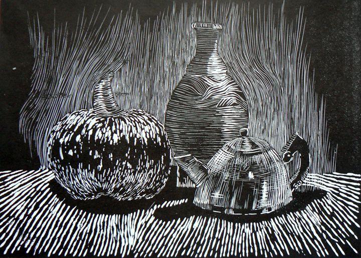 Pumpkin, vase and teapot - Mariela