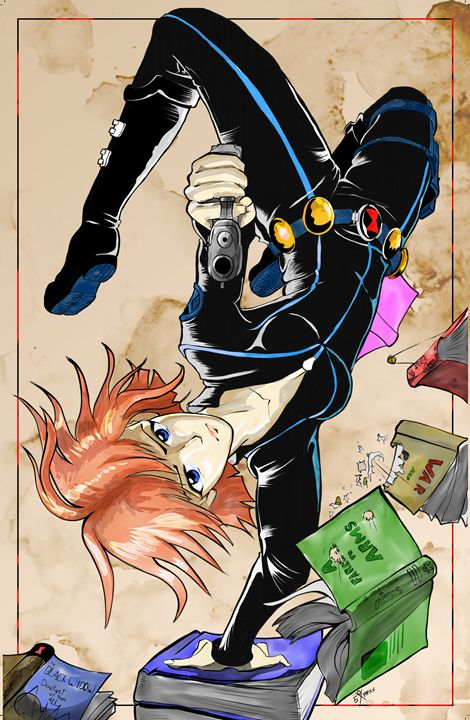 Black Widow Manga Style - G.S. Davis Art