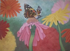 Butterfly and Gerberas