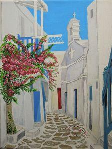 A Santorini street