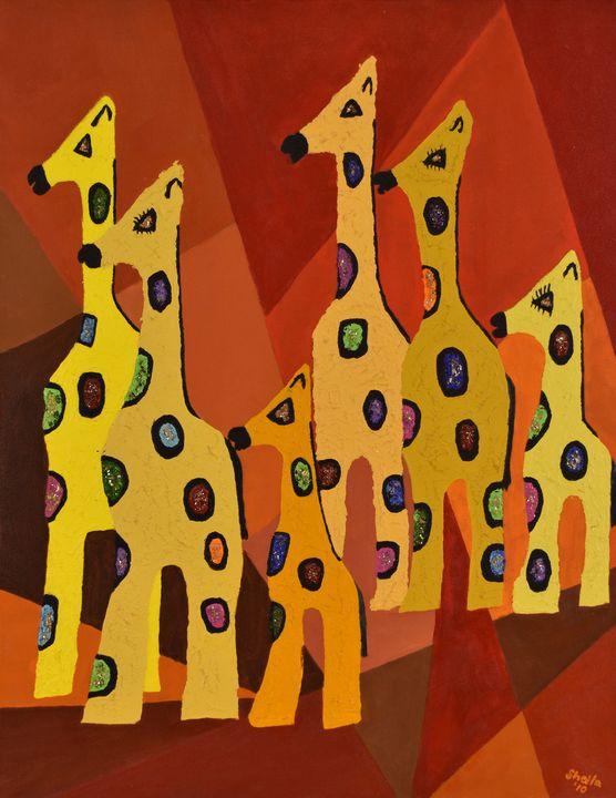 Conversation with Giraffes - Paintings by Sheila Murphy