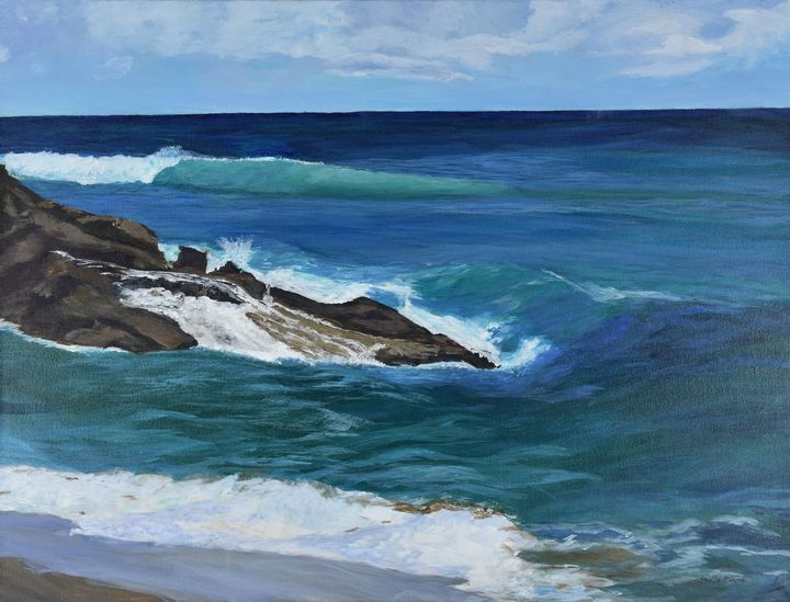 Crashing Waves, Hawksbill Beach - Paintings by Sheila Murphy