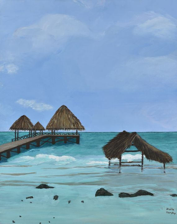 Resort Pier, Cayo Guillermo - Paintings by Sheila Murphy