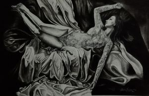 Charcoal work beauty in bed