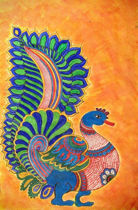Kalamkari peacock motif - Aalekh