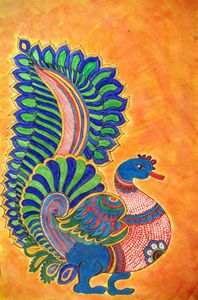 Kalamkari peacock motif