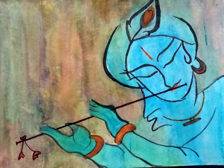 Krishna with flute - Aalekh