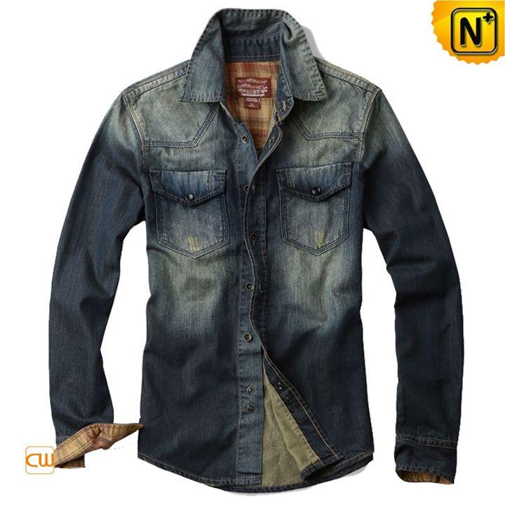 Mens Blue Denim Shirt CW114351 - cwmalls