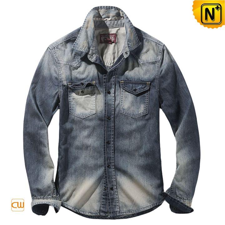 Men Fitted Wash Denim Shirt CW114312 - cwmalls