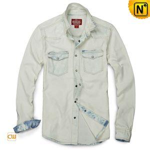 Distressed Men Denim Shirt CW114357
