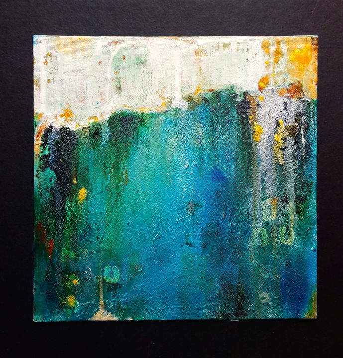 """small abstract painting on canvas - """"Wildspringartstudio"""" Laura Spring"""