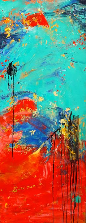 """""""Abstract torquoise and red"""" SOLD - """"Wildspringartstudio"""" Laura Spring"""